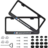 Fubai Auto Parts 2pcs M Performance Stainless Steel License for BMW Plate Frame with Screw Caps Cover Set, Matte Black (BMW M