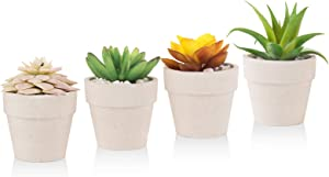 Artificial Succulent Plants Fake Mini Realistic Lifelike Faux Plants Desk Decorations for Home Office and Living Room in White Ceramic Pots (4pcs)