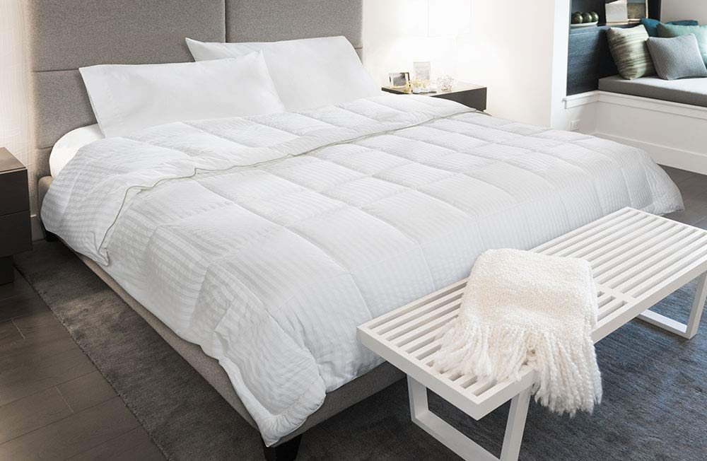 Courtyard by Marriott Down Alternative Blanket - Soft, Cozy Hypoallergenic Blanket with High-Sheen Cover Exclusively for Courtyard - White-on-White Stripe - King