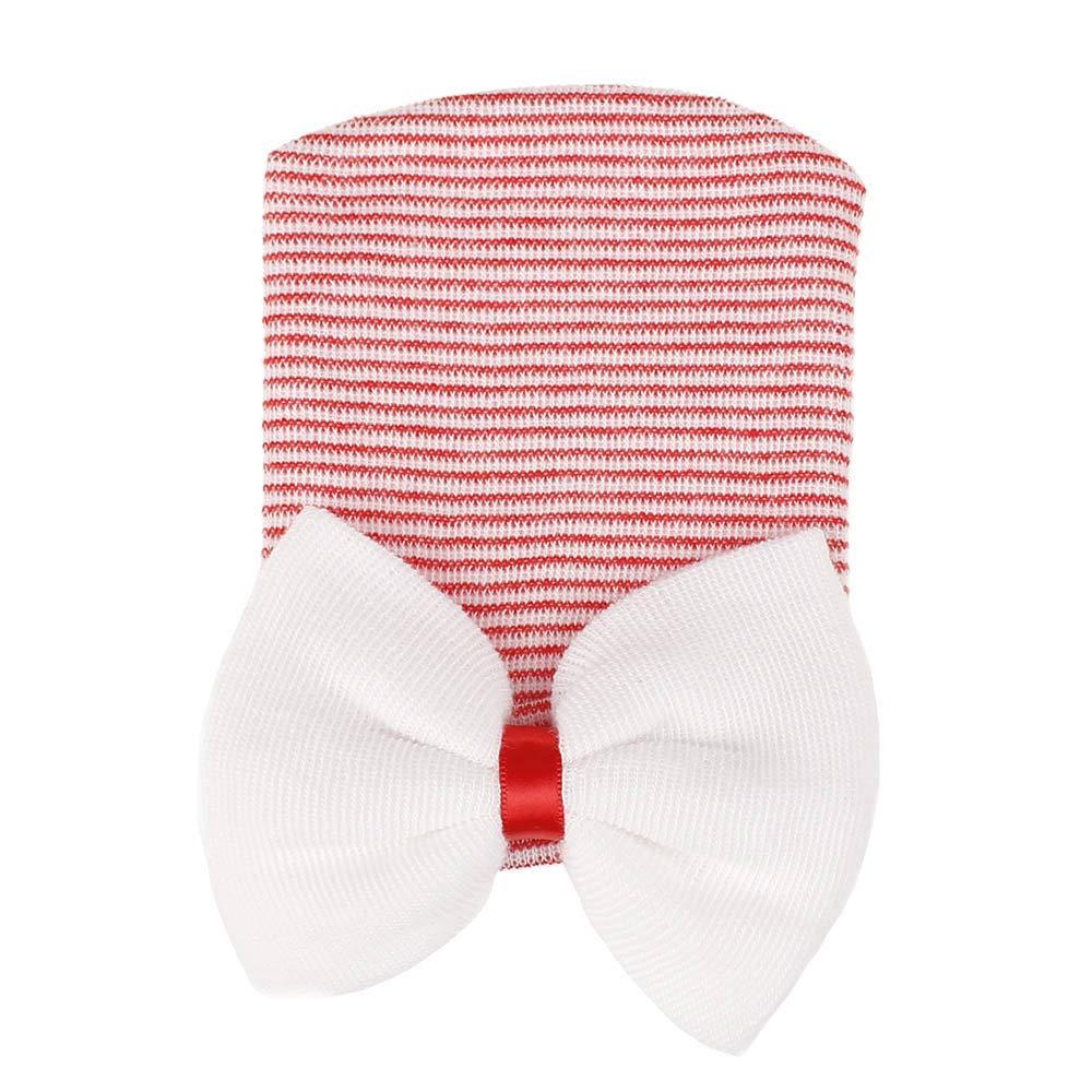 Covermason Baby Baby Mütze Neugeborene, Mädchen Jungen Mütze Streifen Bowknot Baumwolle Schlafmütze Hut Alice