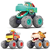 HOLA Toy Cars for 1 2 3 Year Old Boys, 3 Pack Monster Truck Toy Set - Bull Truck, Leopard Truck, Crocodile Trucks…