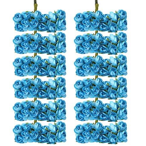 144pcs Artificial Paper Rose Flower Buds Mini Bouquet Party Decor- Blue