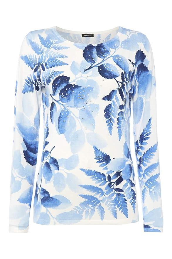 Roman Originals Women/'s Blue Diamante Embellished Floral Jumper Sizes 10-20