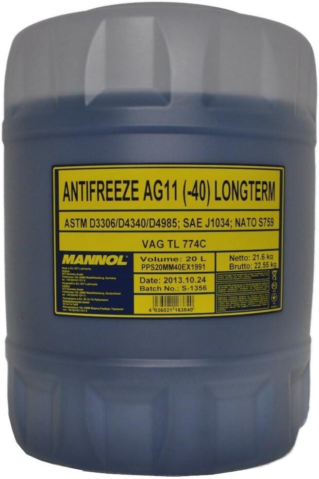 Mannol Kühlerfrostschutz Ag11 1x20 Liter Bis 40 C Für G11 Blau Frostschutz Amazon De Auto
