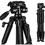 ESDDI Camera Tripod 55'' Lightweight Aluminum DSLR Camera Tripod for Canon, Nikon, Sony, Samsung, Olympus, Panasonic & Pentax + eCost Microfiber and Phone