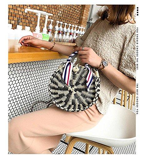 de × 2 de Pawaca bolsos mujer con para de marrón 2 Bolso tela cremallera redondo verano hombro 7 8 playa de paja bolso Bolso Negro pulgadas de wIBqSI