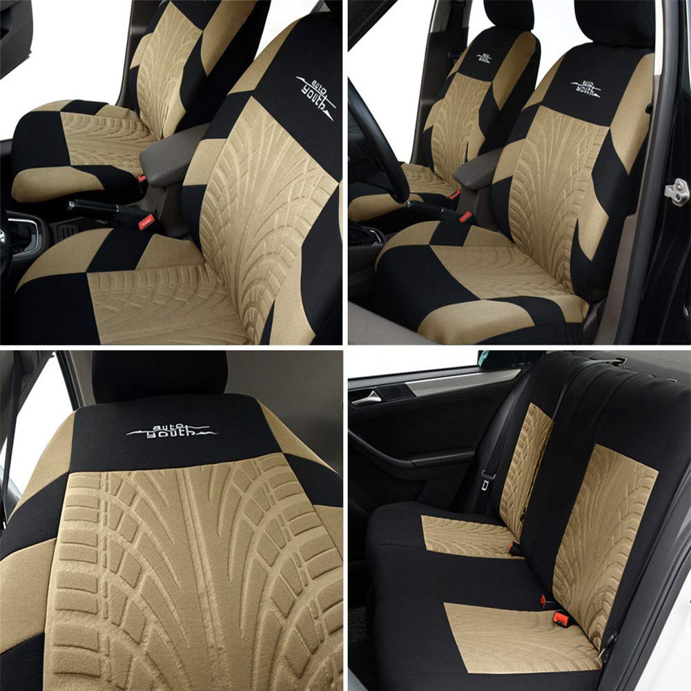 AUTOYOUTH Car Seat Covers Universal Fit Full Set Car Seat Protectors Tire Tracks Car Seat Accessories - 9PCS,Beige by AUTOYOUTH (Image #2)