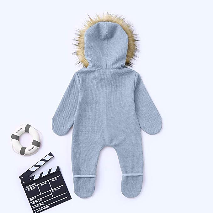 Amazon.com: Moonper Infant Hooded Knit Jumpsuit,Baby Boy Girl Winter Warm Romper Outerwear Snowproof Clothes (3-6 Months, Blue): Clothing