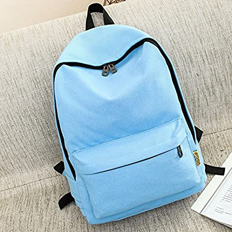 Amazon.com : YIUXB Student canvas bag fashion Korean version of solid color female travel college style backpack, dark blue : Sports & Outdoors