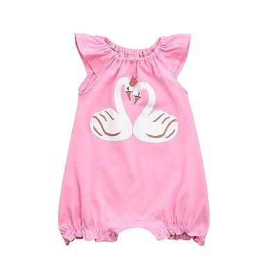 37cb5f29c3d5 Amazon.com  Lurryly Baby Girls Boys Sleeveless Swan Ruffles Romper Jumpsuit  Clothes 0-24 M  Clothing