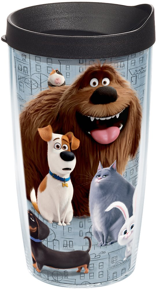 Tervis 1228140 The Secret Life of Pets - Pet Society Tumbler with Wrap and Black Lid 16oz, Clear