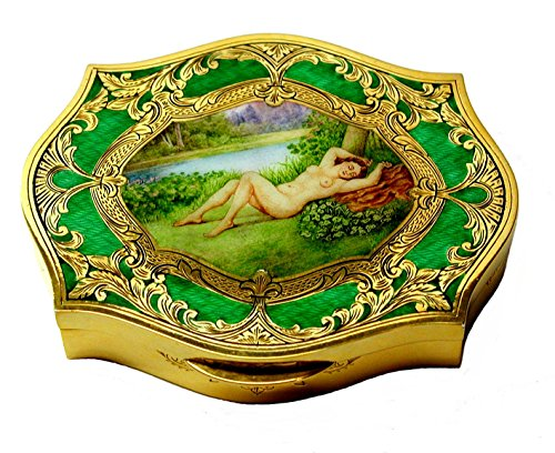 - Artistic table box in sterling silver goldplated with fire enamels and handpainted miniature - handmade by Salimbeni - collectible objet d'art - made in Italy