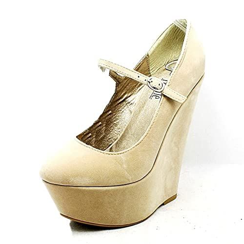 ladies suedette platform mega high wedge heel mary jane court shoes