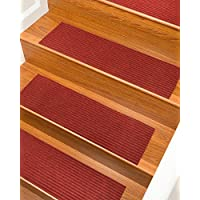 NaturalAreaRugs Halton Polyester Carpet Stair Treads, Handmade, Rubber Backing, Durable, Stain Resistant, Red, Set Of 13 9'' x 29''