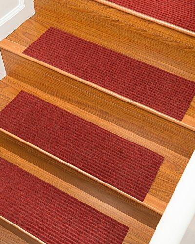 NaturalAreaRugs Halton Carpet Stair Treads, Red