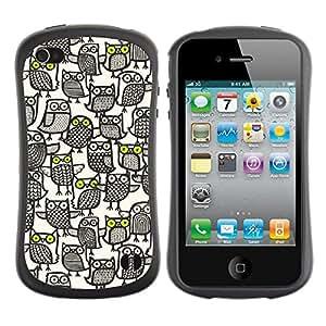 Suave TPU GEL Carcasa Funda Silicona Blando Estuche Caso de protección (para) Apple Iphone 4 / 4S / CECELL Phone case / / Owl Pattern Busy White Black Pen Art /