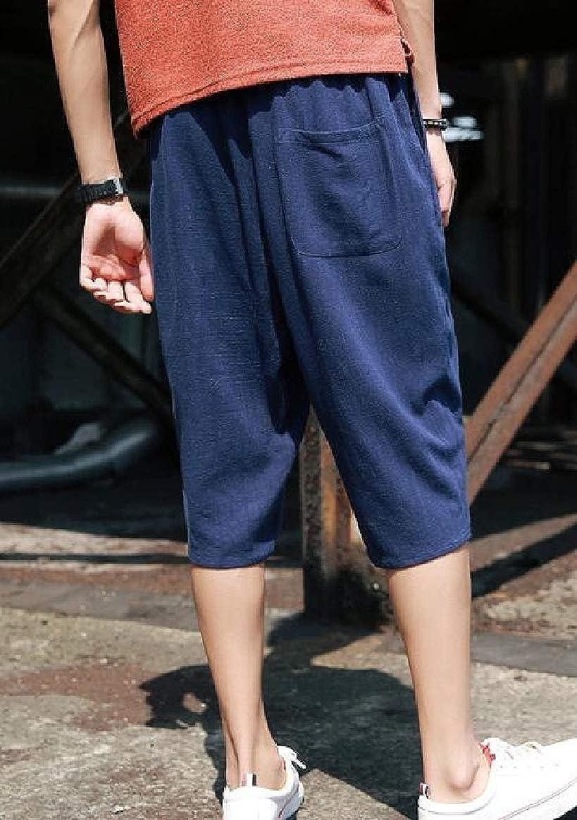 HTOOHTOOH Mens Summer Patchwork Short Loose Linen Harem Capri Pants