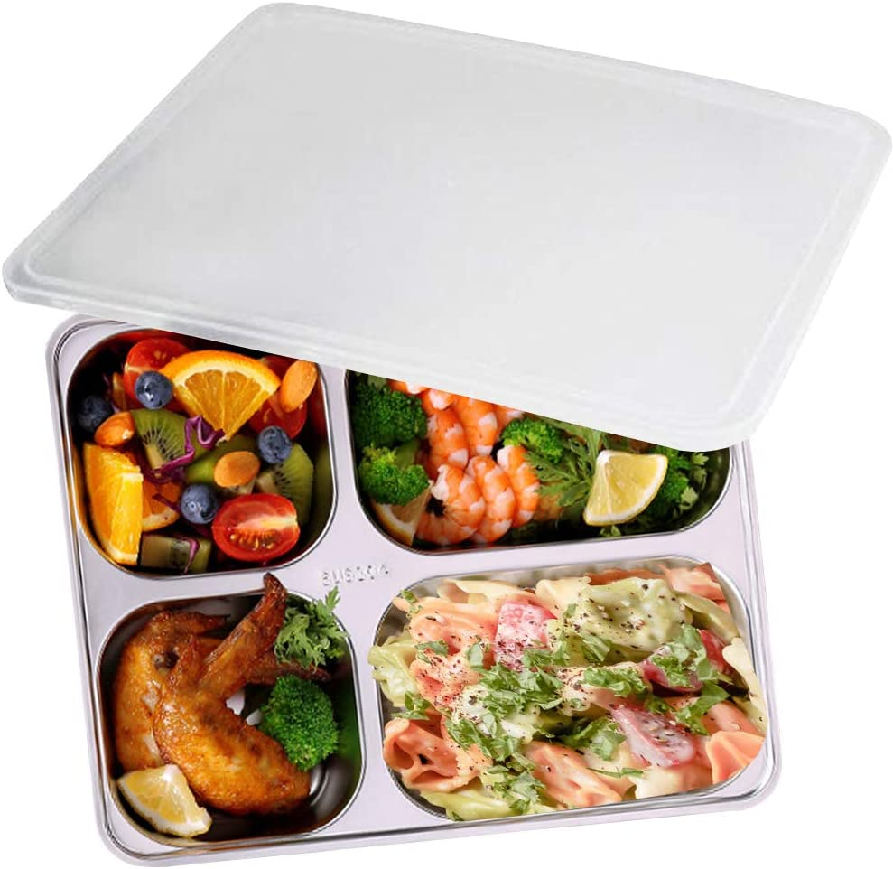AIYoo Divided Plate with Lid for Kids and Adults 304 Stainless Steel Bento Box - BPA free 4 Compartment Lunch Containers with Dividers Camping Food Container Bento Lunch Box