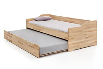 7848f45b5a Massivholz-Gästebett aus Kernbuche, ausziehbares Doppel-Bett, als Jugend- &  Kinderbett