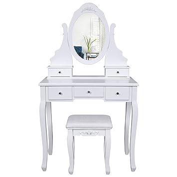 Amazoncom SONGMICS Vanity Set With Mirror And Stool Makeup - Vanity desk no mirror
