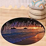 VROSELV Custom carpetHawaiian Decorations Pacific Sunrise At Lanikai Beach Hawaii Sandy Tropics Distant Hills Leaves Landmark Bedroom Living Room Dorm Decor Round 72 inches