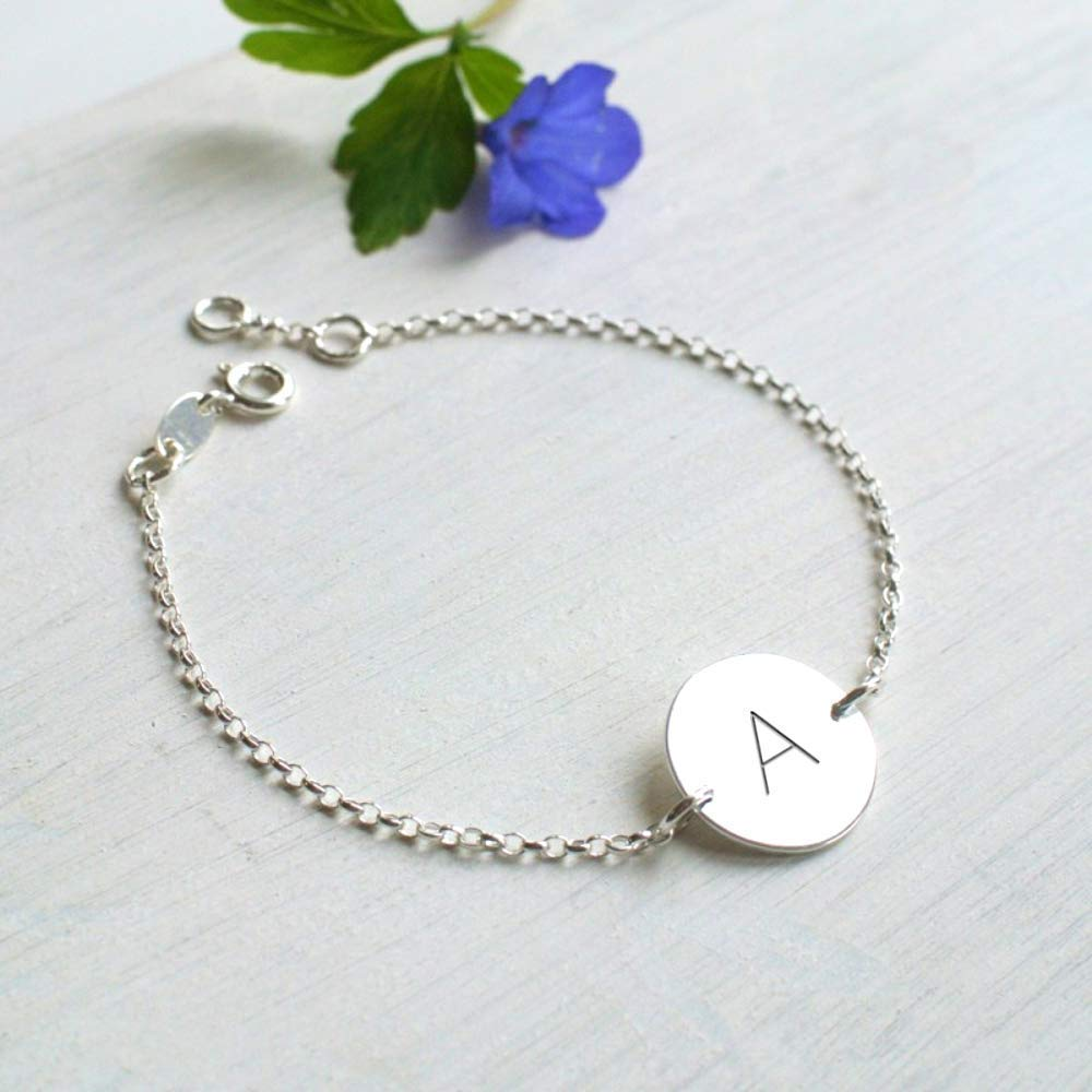 Personalised Sterling Silver Initial Disc Bracelet birthday gift personalised bracelet initial bracelet friendship gift disc bracelet