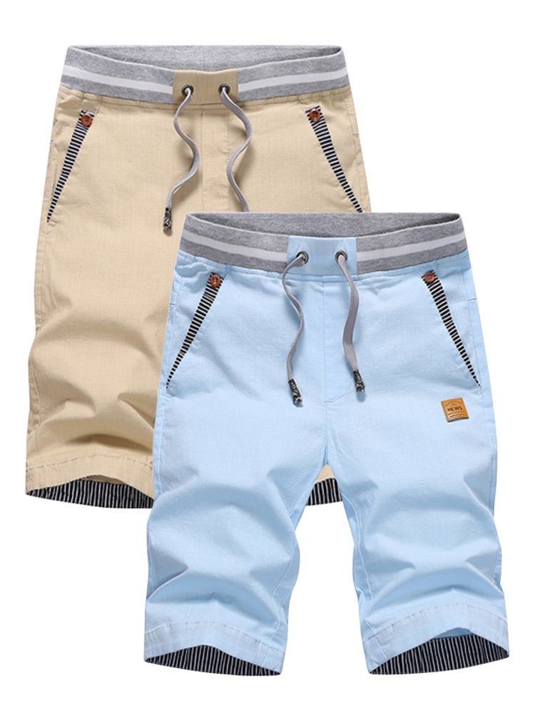 SOIXANTE Men's Casual Shorts Classic Drawstring Elasticated Waist Summer Beach Shorts XS-2XL