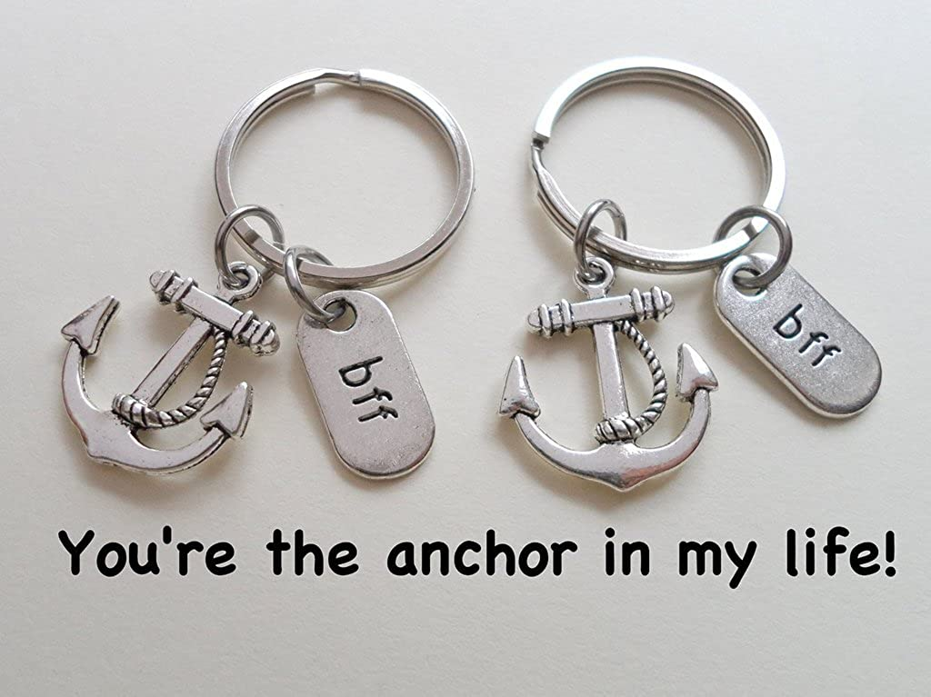 Youre the Anchor in My Life; Best Friends Llavero de ancla doble BFF