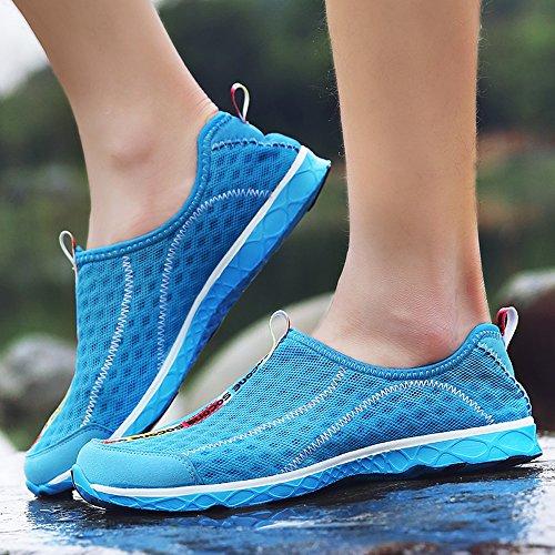 Les Hommes Enllerviid Maille Glisser Sur Leau Chaussures Décontractée Rapide Bateau De Plage Chaussures De Plage 8521 Bleu Clair