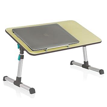Instago - Soporte plegable para ordenador portátil, para escritorio, cama, mesa portátil con asa, altura y ángulo ajustable, mesa de desayuno, color cereza: ...