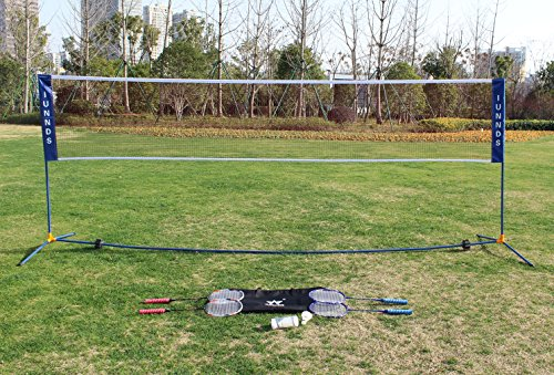 KLB Sport Portable Volleyball Badminton Tennis Net Set with Height Adjustable Stand/Frame for Adults and Kids