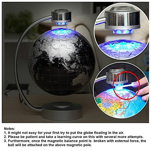 Globes World, 8'' Magnetic Floating Globe With LED Light - Anti-gravity Levitation Rotating Planet Earth Globe Stylish Home Office Desktop Display Decoration (Blue) by Yosoo (Image #7)