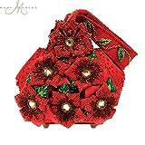 Mary Frances Merriment Beaded Jeweled Poinsettia Christmas Holiday Red Handbag Wristlet