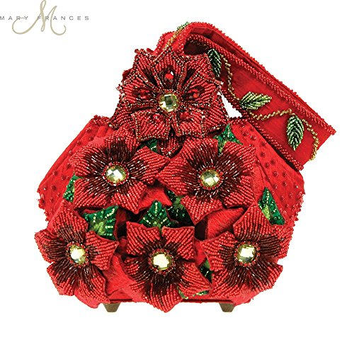 - Mary Frances Merriment Beaded Jeweled Poinsettia Christmas Holiday Red Handbag Wristlet