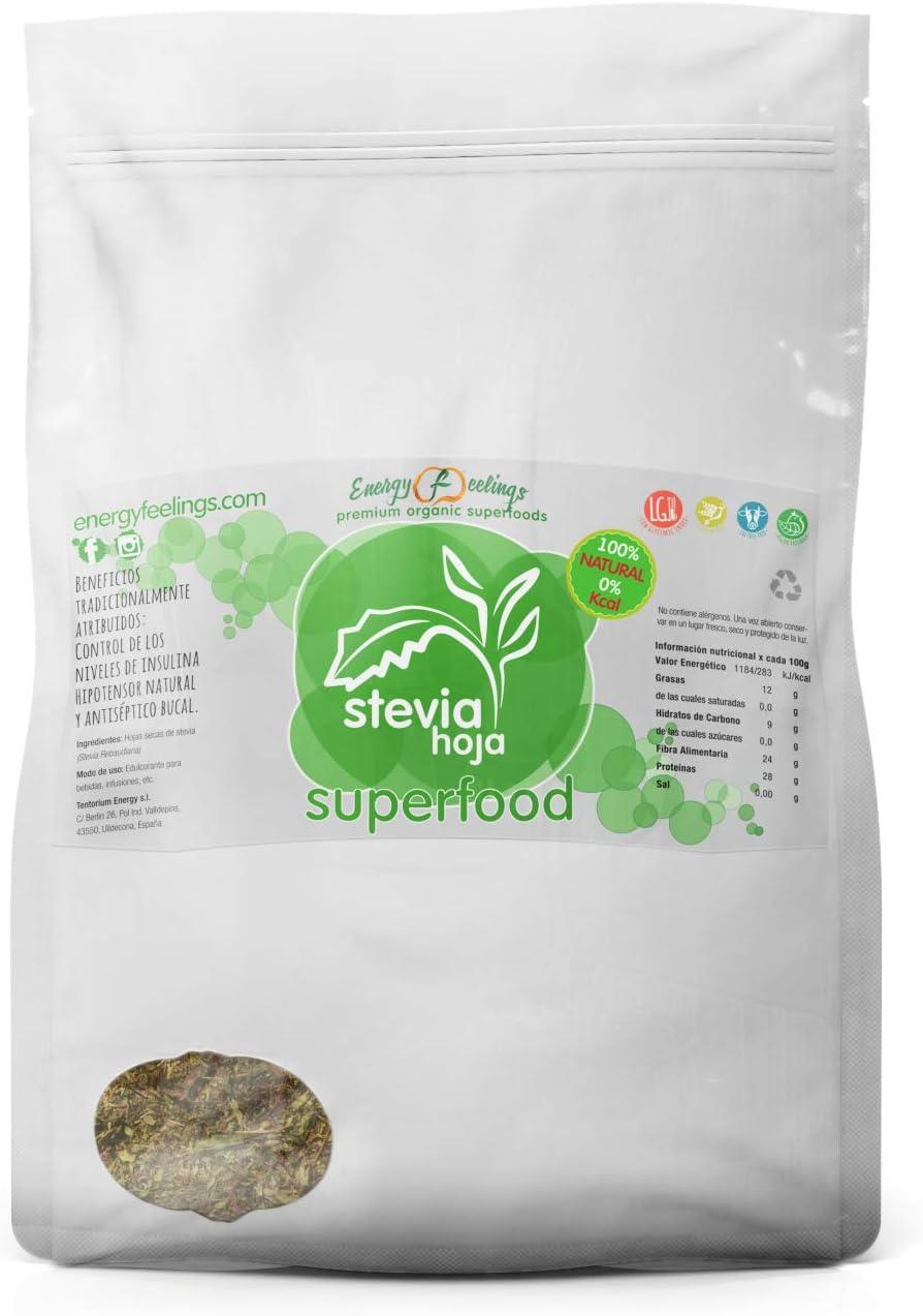 Energy Feelings Stevia Hoja - 1 Kg | Edulcorante | 0% Kcal | 0% azúcares | NO cariogénico | apto para diabéticos