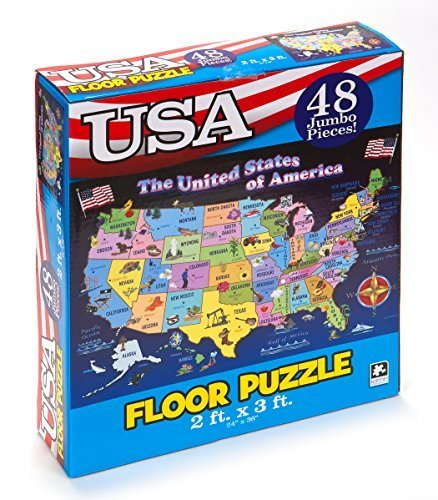 - Educational USA Floor Map 48 Piece Floor Puzzle Measures 24 x 36 Inches Filled With Interesting And Exciting Information A bout All The States