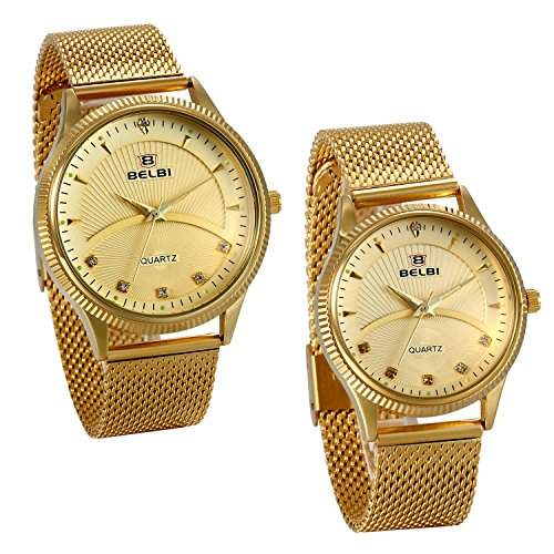 JewelryWe Valentine's Day Gifts Couple His and Hers Gold Ip Ultra Thin Quartz Analog Mesh Stainless Steel Wrist Watches