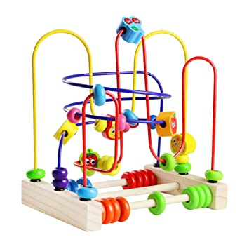 Fajiabao Jeu Boulier Bois Jeux Montessori Circuit de Motricité Activité  Cube Perle Labyrinthe Jeux Jouets Bois bb5787b474f6