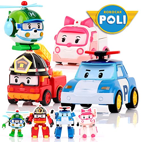 PAPWELL 4pcs/Set Robocar Poli Transformers Toys 4.7 inch Korea Robot Cars Transformation Anime Action Figure Car Transformer Toy for Kids Children