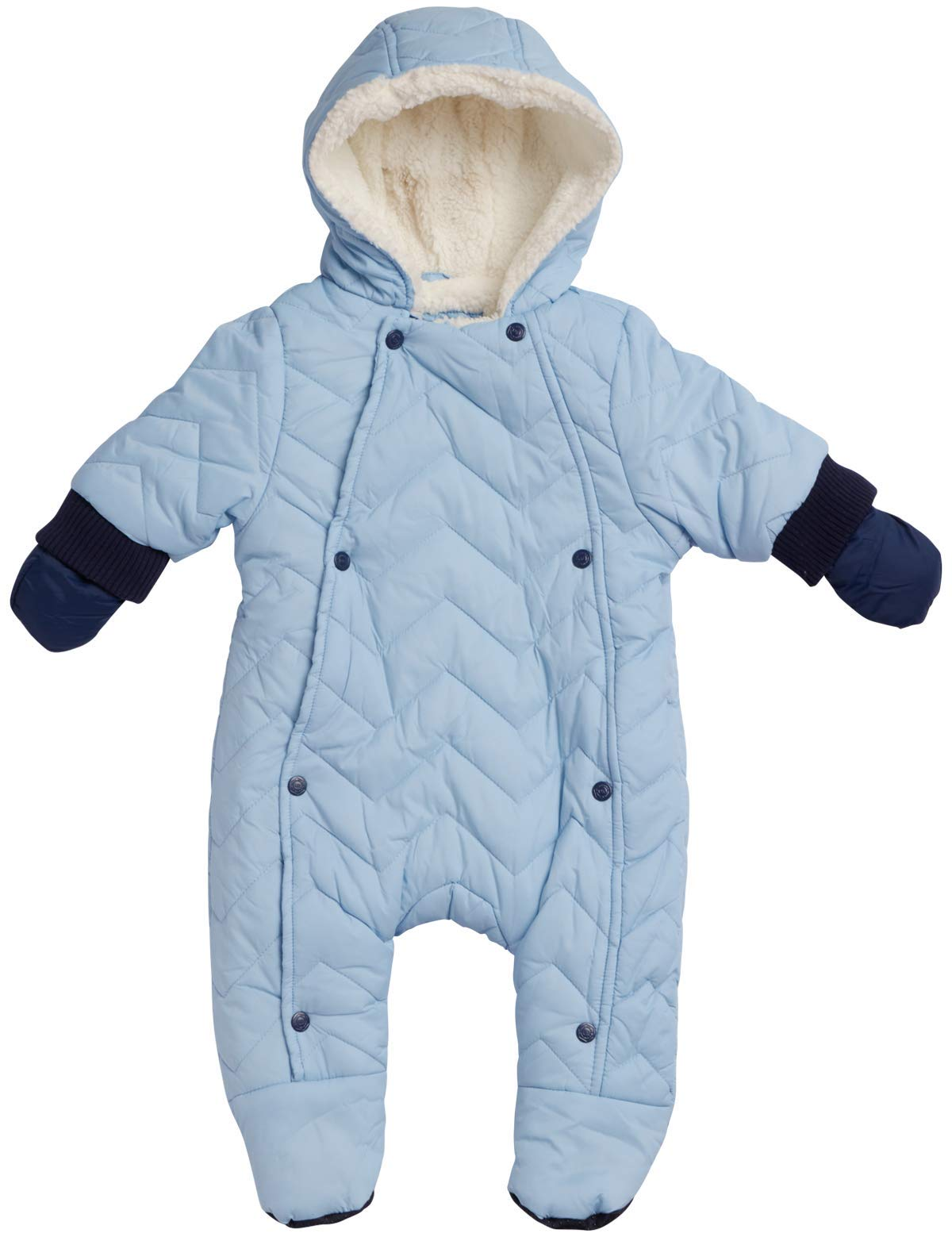 Urban Republic Newborn Boys Quilted Puffer Pram Winter Snowsuit - Fully Sherpa Fur Lined with Hood and Mittens, Baby Blue, Size 3 Months by Urban Republic