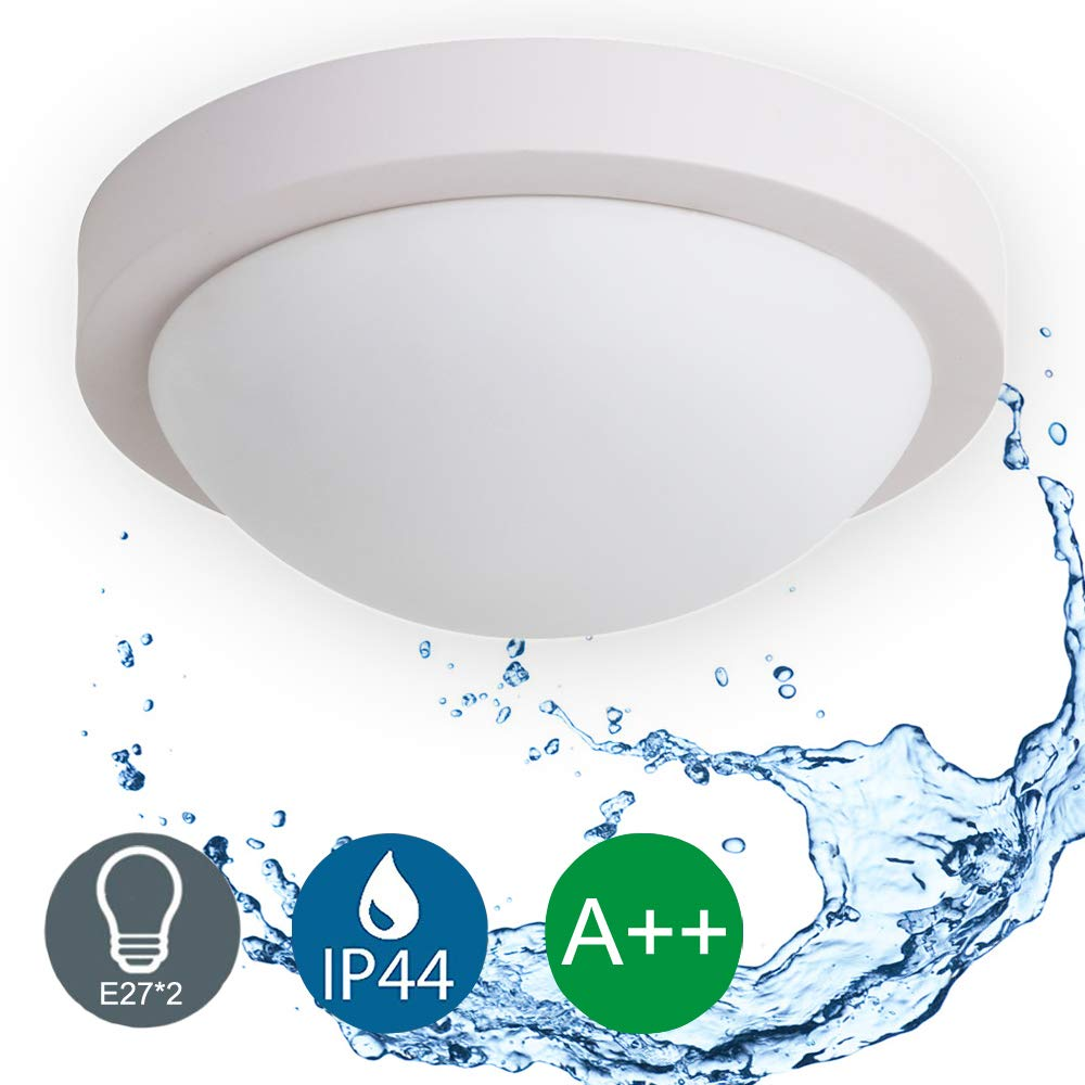 IP44 Wasserfest LED Deckenleuchte 2x E27, Deckenlampe, Ø 28cm,Badlampe Wohnzimmerlampe Kü chenleuchte, ideal fü r Badezimmer Balkon Flur Bad Kü che Wohnzimmer (ohne Leuchtmittel) Auen Lighting