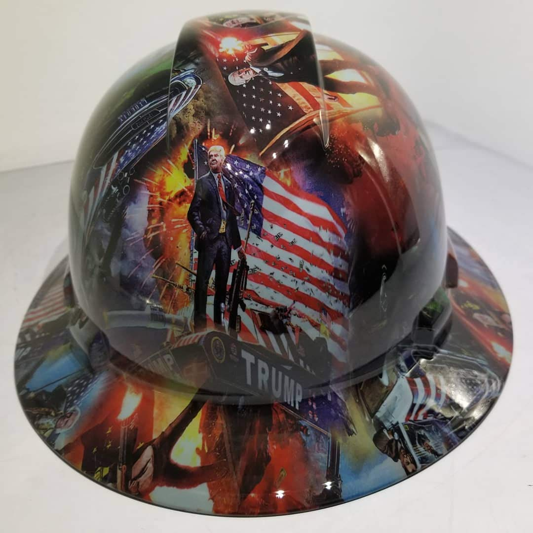 Wet Works Imaging Customized Pyramex Full Brim Conceal Trump Hard HAT with Ratcheting Suspension Custom LIDS Crazy Sick Construction PPE by Wet Works Imaging