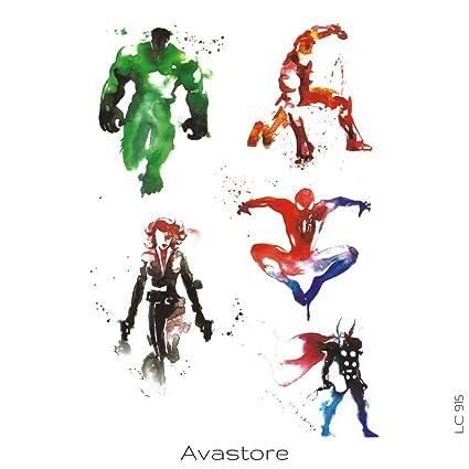 Tatuaje Temporal esbozo Super héroe Marvel tatuaje efímero esbozo ...