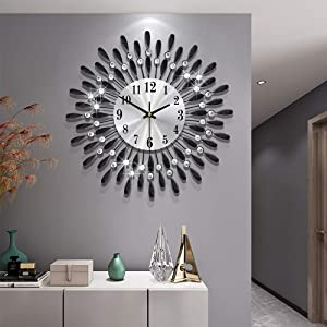 Modern 14 inch Metal Wall Clock Silver Dial with Arabic,Non-Ticking Silent Digital Black Drop Clock Home Decor for Bedroom,bedrooms Kitchen and Small Areas Space