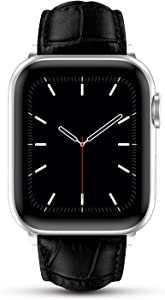 Marge Plus Compatible with Apple Watch Band 44mm 42mm 40mm 38mm, Genuine Leather Replacement Band for iWatch Series 6 5 4 3 2 1, SE (Bright Black/Silver, 44mm/42mm)