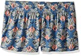 Roxy Big Girls' Something I Will Believe Knit Shorts, Captain's Blue Peacock Palm, 14