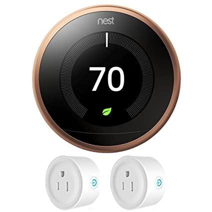 Nest T3021US Learning Thermostat 3rd Gen (Copper) + Deco Gear 2 Pack Wifi Smart