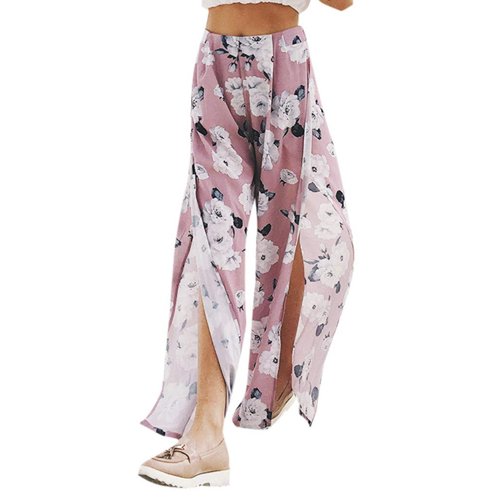 Mysky Women Summer Popular Bohemian Floral Print Sexy High Slit Beach Casual Plus Size Wide Leg Pants