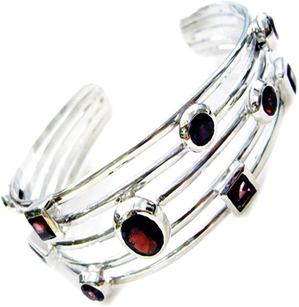 Jewelryonclick Natural Sterling Silver Garnet Bangle Bracelets Handmade Fashion Jewelry Size 6.5-8 Inch