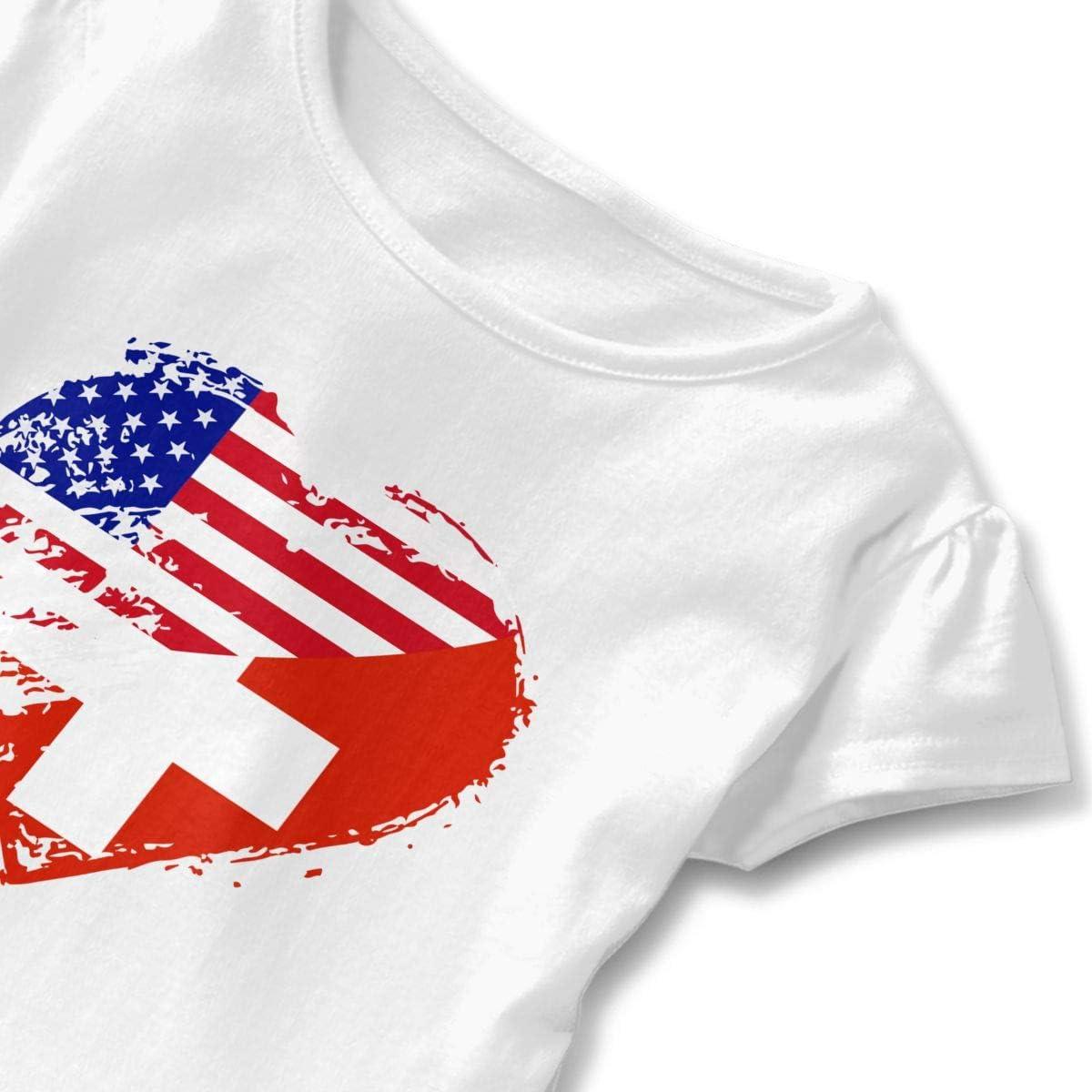 26NSHIRT Switzerland American Heart Flag Girls Short Sleeve Graphic Tee